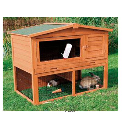 Rabbit Hutches Natura 120 with Pitched Roof and Ground Enclosure - Medium