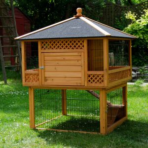 Large Outdoor Rabbit Hutch Pagoda with run